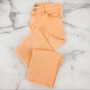 TOPSHOP Moto Jamie Orange Skinny Frayed Hem Jeans